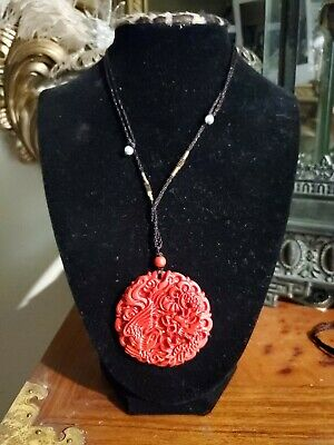 Chinese Natural Red Organic Cinnabar Dragon Lucky Amulet Hot