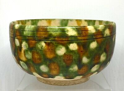 Chinese Sancai Glazed Pottery Bowl Tang Dynasty