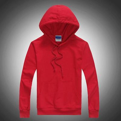 Mens Plain Blank Hoodie Jumper Unisex Casual Adult Basic Pullover Sports WS