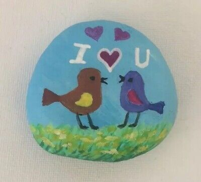hand painted rock pebble Personalised Valentines Gift Birds Love Anniversary