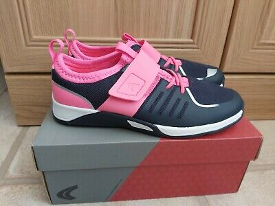 Lovely Girls Brand New Clarks Pink Blue Trainers Size 2.5G Trace Cool