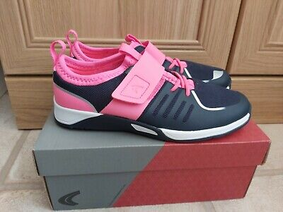 Lovely Girls Brand New Clarks Pink Blue Trainers Size 1.5G Trace Cool
