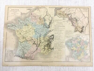 1877 Antique Map of France French Industry Agricultural Industrial Hand Coloured
