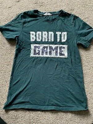 Boys Green Born To Game Sequin T-Shirt - Age 12-14 yrs - H&M - Immac Condition