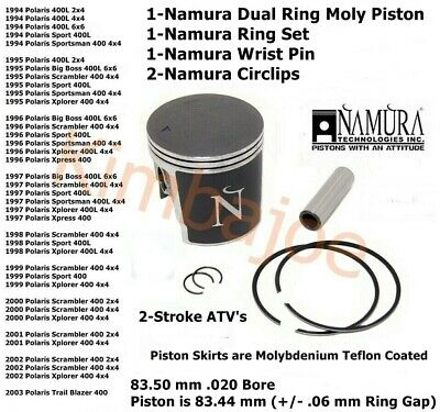 Polaris 400 2-Strokes ATV/'s 84.50mm 84.44mm Namura .060 Over Bore Piston Kit