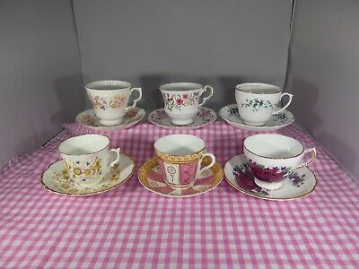 Vintage Mismatched China Cups, Saucers, Weddings, Tea Party