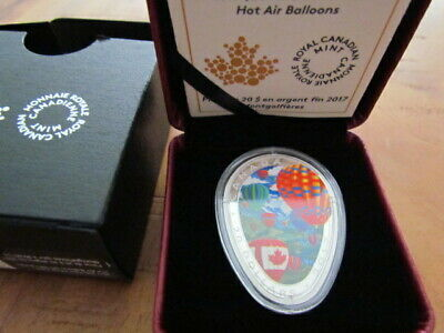 2017 'Hot Air Balloons' Shaped Color Prf $20 Silver Coin 1oz