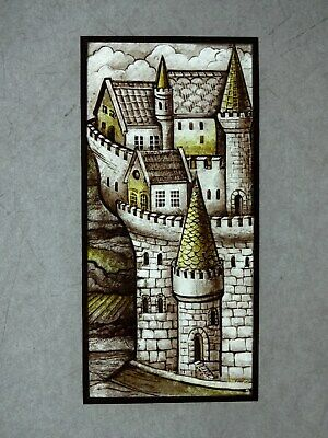 Beautiful Stained glass OLD CITY Hand painted Kiln fired180x85mm Antique st