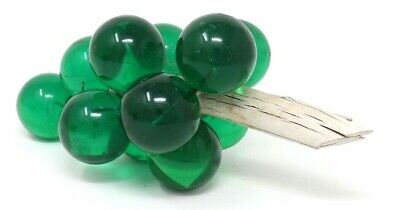 """Vintage Lucite Acrylic Green Grape Cluster Mid Century Modern Driftwood 9"""""""