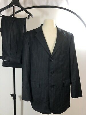 Stafford Super Suit Gray Pinstripe 42R 36x30 Pleated Cuffed