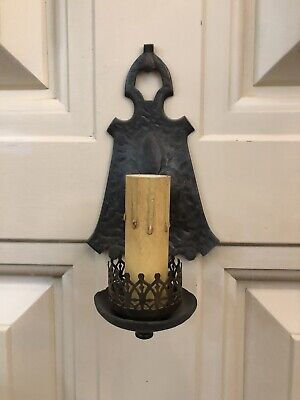 Single Hand Hammered Arts & Crafts Wall Sconce Rewired