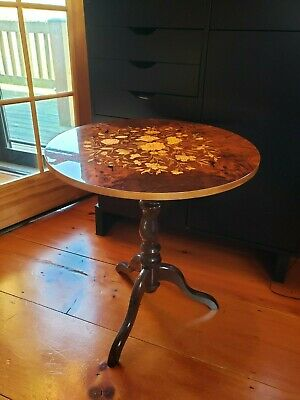 Vintage Italian Sorrento Marquetry Inlaid Wood Side Lamp Table High Gloss Top
