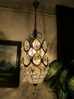 Antique Vintage French Basket style Crystal Chandelier Light LAMP LUSTRE 1940's