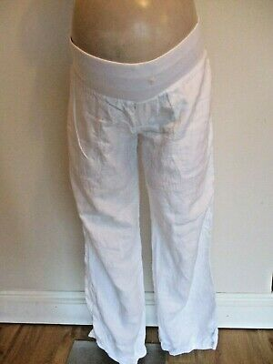 Blooming Marvellous Maternity White Under Bump Wide Leg Linen Trousers Size 10