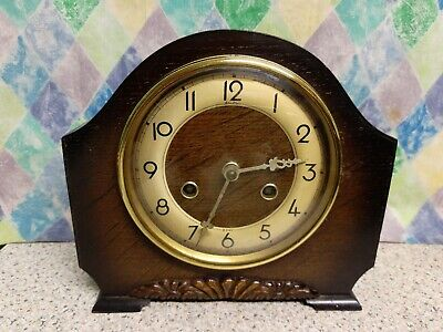 Art Deco Bentima Oak Case 8 Day Striking Mantel Clock G. W. O