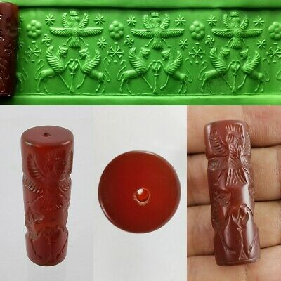 Sassanian Carnelian Agate Bead Cylinder God Seal Old Beauty Roll Intaglio #326