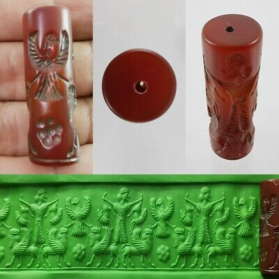 Old Sassanian King God Seal Bead Carnelian Agate Cylinder Roll Intaglio #327