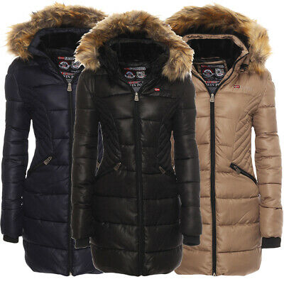 Geographical Norway Ladies Winter Jacket Parka Coat Quilted short