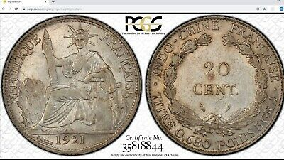 French Indo-China 1921-A 20 Cents Centimes PCGS AU58 Golden Tone Luster