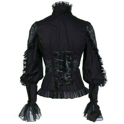 Vintage Lady Gothic Shirt Blouse Top Lace Ruffle Steampunk Victorian Puff Sleeve