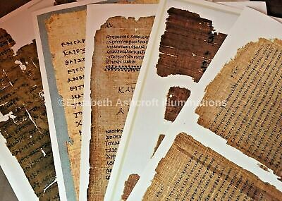 """Papyrus Gospel collection of 5. Archival Print MOUNTED+SHRINK WRAPPED 9x13"""" NEW"""