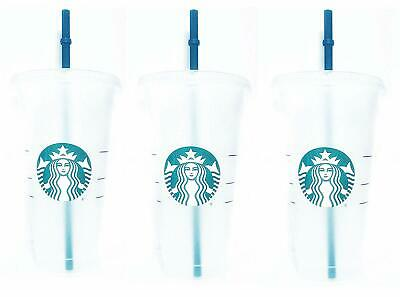 Starbucks Reusable 3 Hard Plastic Venti 24 oz Frosted Ice Cold Drink Cup With