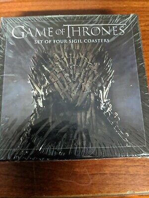 """HBO Game of Thrones Set of Four Sigil Coasters, 4"""" Square, Cork Back, New Sealed"""