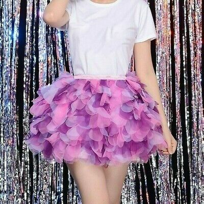 Women Tulle Tiered Tutu Skirt Mesh Layer Pettiskirt Costume Dance Clubwear Adult