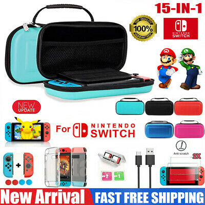 For Nintendo Switch Carrying Case EVA Travel Bag+HD Screen Protector+Accessories
