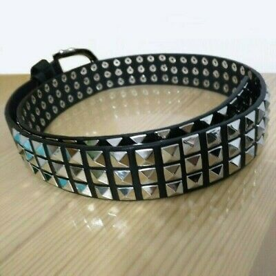 Unisex Pyramid Studded Faux Leather Belt Biker Gothic Punk Removable Buckle New