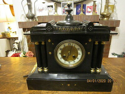 Antique Victorian black marble mantel clock
