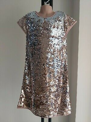 Girls George GOLD silver SEQUIN rose gold PARTY DRESS age 10-11 worn once FREEP