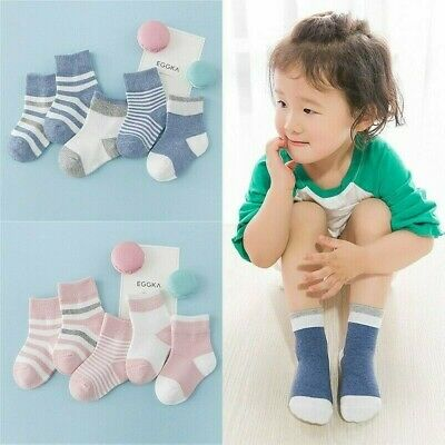 5 Pairs Baby Boy Girl Stripe Cotton Soft Sock Infant Cosy Kid Non Slip Warm Cute