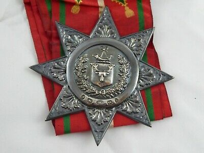 Antique Ancient Order Of Foresters Solid Sterling Silver Badge On Sash 1872