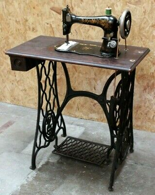 Antique Singer VS2 Fiddle Base Sewing Machine Cast Iron Treadle c1892 [5781]