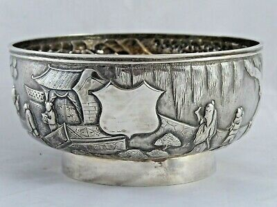 SUPERB ANTIQUE CHINESE SOLID SILVER BOWL WANG HING 158 g  c.1890
