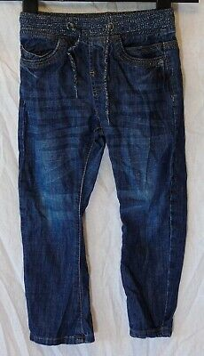 Boys Blue Matalan Blue Whiskered Denim Ribbed Waist Relaxed Jeans Age 4 Years