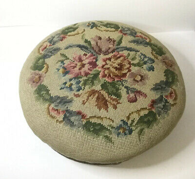 Antique Victorian 19th Century Tapestry Wool Work Pad Topped Circular Foot Stool