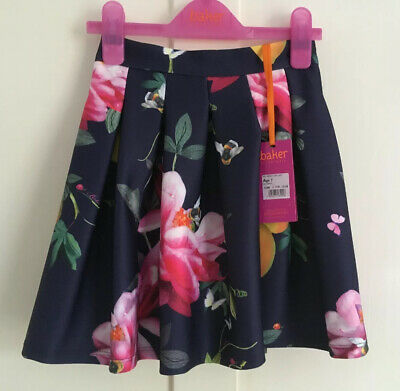 Ted Baker Navy Citrus Bloom Lemons Floral Scuba Skirt - Age 7 Years (6-7) - BNWT