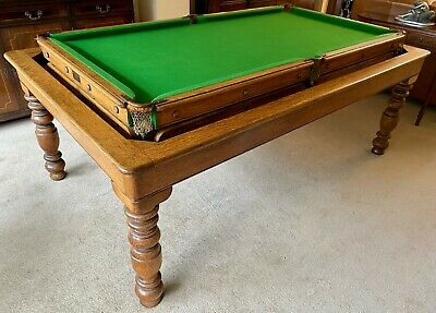 ANTIQUE GAMAGE 7X4ft DINING SNOOKER POOL TABLE SOLID OAK c1920s SCARCE ROLL-OVER