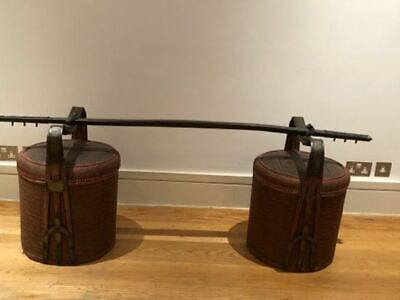 """Pair of Antique Chinese """"Wedding"""" Baskets with carrying rocker crossbeam"""