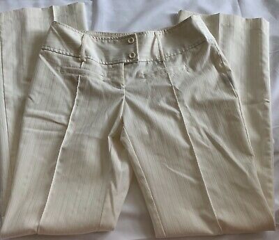 Copper Key Juniors Sz 7 Ivory Cream Textured Pinstripe Flare Leg Dress Pants