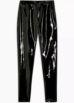 Bnwt 10 12 Topshop  Black Vinyl Pvc Pu Leather Shiny Leggings Trousers  Emo Goth