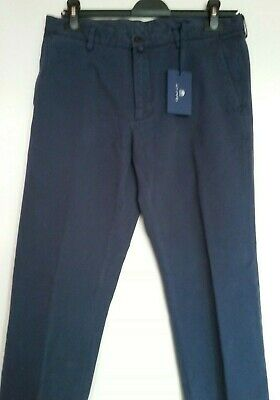 """New Gant Trousers / Chinos Marine Blue, L 31"""", W 34"""" Cotton, Size 46 Rrp £135.00"""