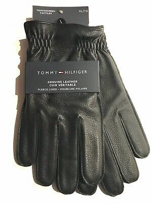 Tommy Hilfiger Genuine Leather Fleece Lined Touchscreen Tactiles Mens Gloves XL