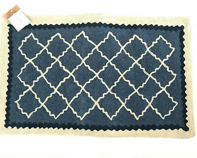 Pottery Barn Cream Blue Diamond Crewel Embroidered Pillow Cover New 71062