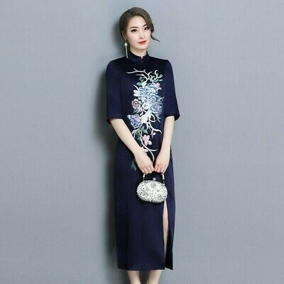 Ladies Chinese Faux Silk Floral Flexible Long Dress Vintage Embroidery Party New