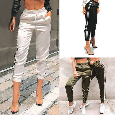 Womens Satin Joggers Trousers Tracksuit Bottoms Jogging Gym Fitness Pants  ZY