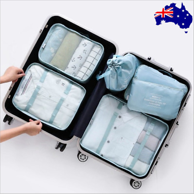 New 6 set Waterproof Compression Packing Cubes Large Travel Luggage Organizer AU