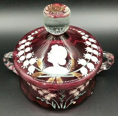 1890'S Victorian Ruby Glass Lidded Trinket Box Mary Gregory Lilly Of The Valley.